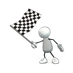 little sketchy man with checkered flag