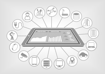 Flat vector illustration big data analytics internet of things