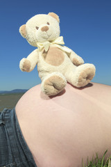 Pregnant woman with plush on his belly