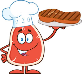 Chef Steak Character Holding Up A Platter With Grilled Steak