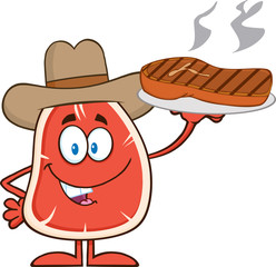 Cowboy Steak Character Holding Up A Platter With Grilled Steak