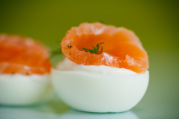 boiled eggs with salt red fish