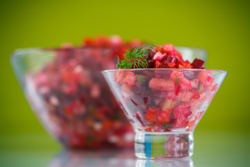 salad of boiled vegetables with beets