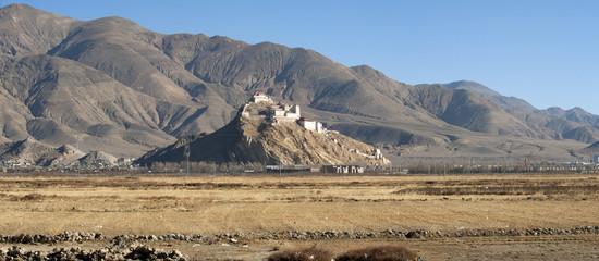 Monastery in a tibetan plateau