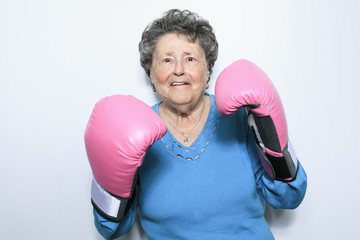 An old senior woman fight for cancer