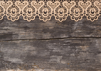 lace on the wooden background