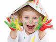 canvas print picture - boy with coloured hands