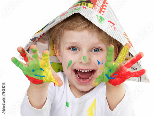 canvas print picture boy with coloured hands