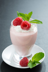 creamy jelly with raspberries and mint