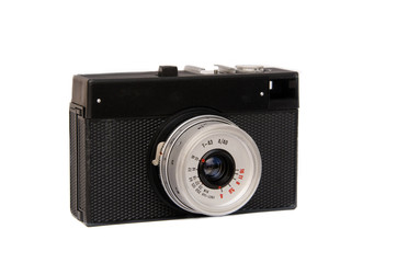 old film camera in cover isolated