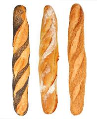 Baguettes de pain tradition, sésame et pavot