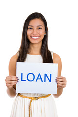 Happy young business woman with loan sing on white background