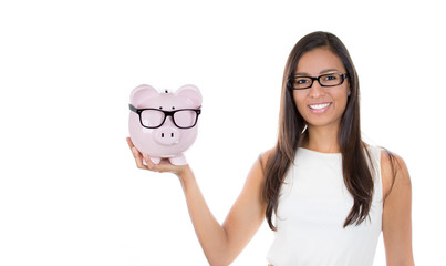 Save money on glasses eyewear. Piggybank woman wearing glasses