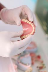 Dentist Working on a Denture