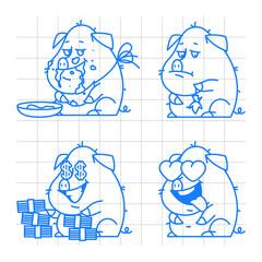 Pig character doodle concept set 2