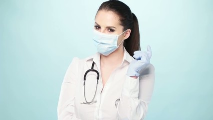 sexy nurse with a mask and gloves
