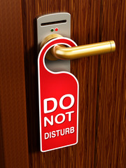 Do not disturb sign on the door