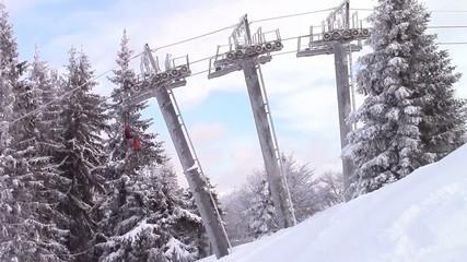 Ski lift metallic poles