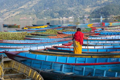 Fotobehang Nepal view of the lake in Pokhara