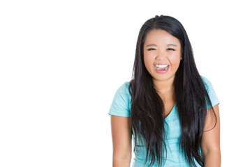 Woman laughing isolated on white background