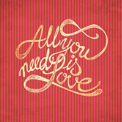 All You need is Love quotes on red wallpaper