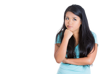 Portrait worried, bothered teenager girl looking puzzled