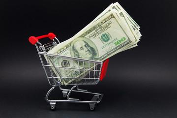 carro de compra con billetes