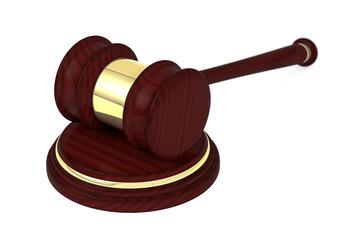 Wooden judge gavel and soundboard.