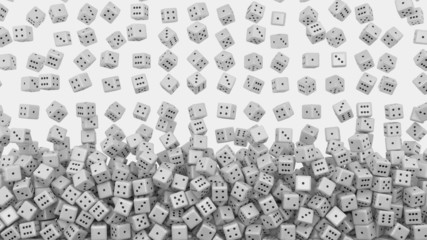 White dice fall