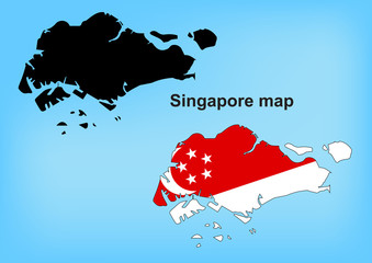 Singapore map vector, Singapore flag vector