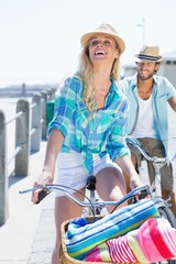 Cute couple on a bike ride
