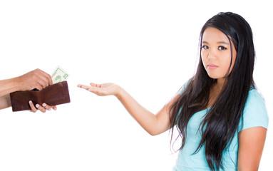 teenager girl demanding money for allowance