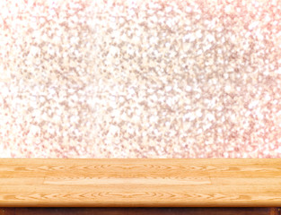 Wood Table with bokeh golden sparkling background,Empty room for