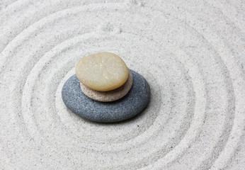 Japanese zen garden meditation stone.