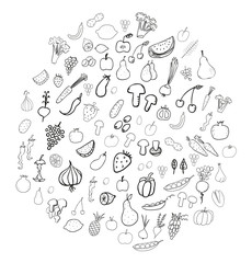 Vegetable and fruit doodles