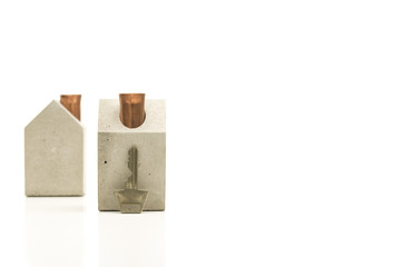 Conceptual Key and Miniature Homes with Copy Space
