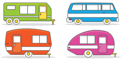 Retro caravan mobile home illustration vector