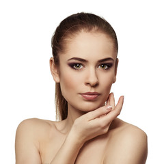 Beauty model woman face. Perfect skin. Professional makeup