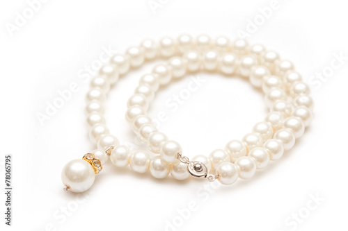 Pearl necklace isolated on white - 78065795