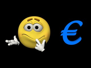 Emoticon embarrassed and euro - 3d render