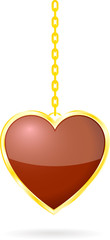 Red Heart on golden chain
