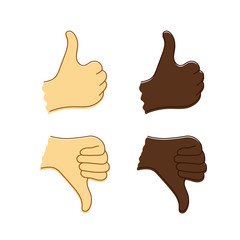 Caucasian and Afro-American hands with thumb up and thumb down.