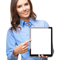 Young businesswoman showing blank tablet pc