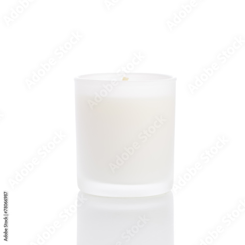 White candle side view 20 degree, on white background - 78066987