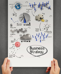 hands hold poster with business strategy as concept