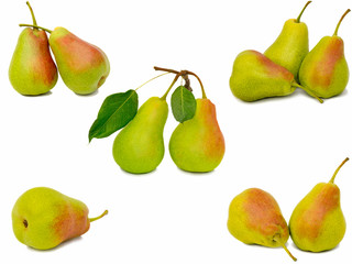Ripe large yellow pears. Presented on a white background.