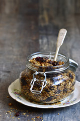 Granola from rye and oat flakes with dried cranberries and cocon
