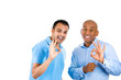 Portrait two excited young men showing ok sign