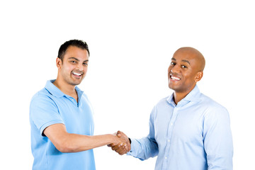 two cheerful man handshaking smiling
