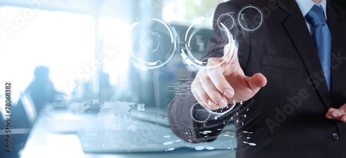 Double exposure of businessman shows modern technology as concep - 78068382